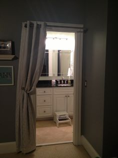 When You Have A Small Bathroom That The Door Just Gets In The Way Try A  Curtain That Is Lined With Beautiful Hardware! This Works Great For A  Bathroom ...