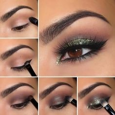 Glamorous Smoky Eye Makeup Tutorials For Stunning Party & Night-out Look - Smoky Eye Makeup Tutorial with Green Shimmer Shadow Eye Makeup Glitter, Glitter Makeup Tutorial, Smoky Eye Makeup Tutorial, Makeup Pictorial, Eye Makeup Tips, Smokey Eye Makeup, Makeup Ideas, Eye Brows, Makeup Trends