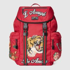 GUCCI Backpack with embroidery - red techno canvas. aed91c1535223