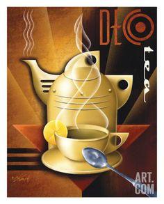 Deco Tea Art by Michael Kungl Estilo Art Deco, Arte Art Deco, Moda Art Deco, Art Deco Era, Posters Vintage, Art Deco Posters, Vintage Art, Vintage Signs, Vintage Images