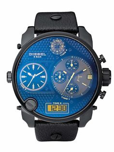 Diesel Mens Mr Daddy Black Leather Blue Dial Chronograph Watch DZ7127.  This bold timepiece features a chronograph, digital display, and three-hand movement, allowing you to navigate multiple time zones without losing a second. The case is plated in black IP and enhanced with a laser crystal.