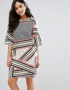 Buy it now. Orion Elsa Stripe Print Shift Dress - Multi. Dress by Orion, Smooth woven fabric, Boat neck, Half-length sleeves, Regular fit - true to size, Machine wash, 100% Polyester, Our model wears a UK S/EU S/US S and is 170cm/5'7 tall. , vestidoinformal, casual, camiseta, playeros, informales, túnica, estilocamiseta, camisola, vestidodealgodón, vestidosdealgodón, verano, informal, playa, playero, capa, capas, vestidobabydoll, camisole, túnica, shift, pleat, pleated, drape, t-shape, da...