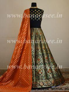 Banarasee Handwoven Art Silk Unstitched Lehenga & Blouse Fabric With Meena Design-Black Lehenga Top, Lehenga Choli Wedding, Black Lehenga, Designer Bridal Lehenga, Silk Lehenga, Saree Dress, Designer Wedding Dresses, Indian Gowns Dresses, Indian Outfits