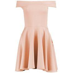 Boohoo Tamzin Off Shoulder Skater Dress (£14) ❤ liked on Polyvore featuring dresses, robe, off shoulder maxi dress, off the shoulder bodycon dress, pink dress, party dresses and bodycon mini dress
