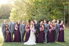 Fall Running Hare Vineyard Wedding with Plum Floor Length Bridesmaid Dresses with Various Necklines and Medium Grey Groomsmen Suits. Photos by Katelyn James Photography