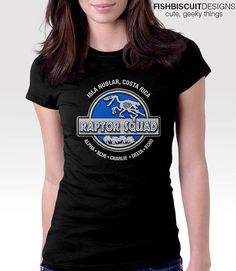Jurassic Raptor Squad T shirt funny tshirt by FishbiscuitDesigns