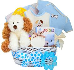 Puppy baby hamper for boys baby baskets and baby hampers baby footprints on my heart baby boy keepsake gift basket personalized negle Images