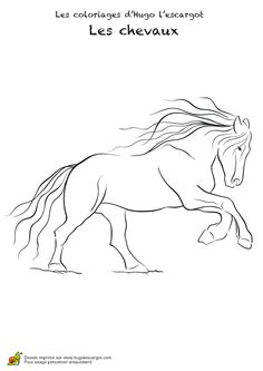 Coloriage pour enfants, un cheval avant un saut