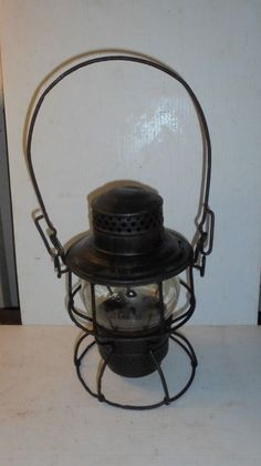 Vintage Railroad Lantern Atlantic Coastline ACLRR Marked Canopy & Globe