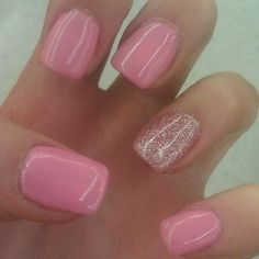shellac nails | Cute shellac nails | Nails I like this.  Ring finger glittery to set off engagement ring::other fingers painted to match wedding color theme.