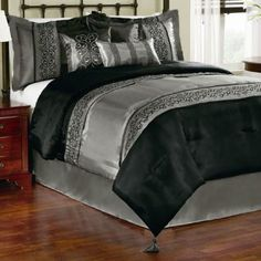 Amazon.com: Gala Black 7 Piece Comforter Set - Queen Comforter Set: Bedding & Bath