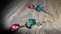 Vintage styled rose and teal earrings in my etsy shop