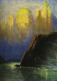 Rheingold (1913), painting by Hermann Hendrich (1854-1931), from Scene 4 of Das Rheingold (1854), by Richard Wagner (1813-1883).                                                                                                                                                                                 More
