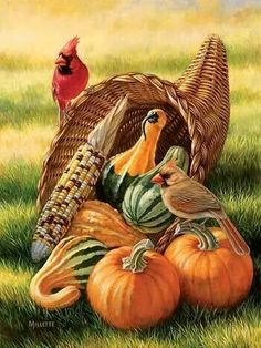 🦃 Thanksgiving Horn of Plenty - Cardinals Original Painting by Rosemary Millette Autumn Painting, China Painting, Autumn Art, Painting Holidays, Horn Of Plenty, Vintage Thanksgiving, Thanksgiving Graphics, Mosaic Crafts, Fall Pictures