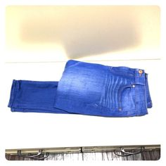 Express Distressed Blue jeggings size 10 Super cute mid rise jegging in bright blue wash. Perfect for a pop of color this spring! Express Jeans