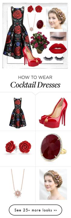 """Roses Are Red"" by kayleigh-zz on Polyvore featuring Polaroid, Chi Chi, Christian Louboutin, Nearly Natural and Bling Jewelry"