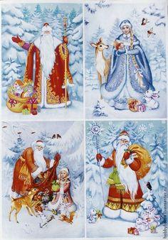 Christmas Decoupage, Christmas Cards To Make, Christmas Books, Father Christmas, Christmas Paper, Christmas Greeting Cards, Christmas Pictures, Christmas Greetings, Christmas Decorations