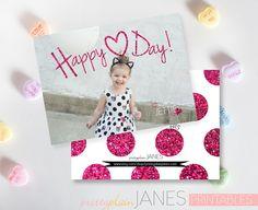 Happy Heart Day Valentine Photo Card  4X5.5 by PrettyPlainJanes