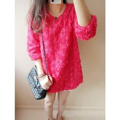 Gorgeous Stand out Roses Pave 3/4 Sleeves Tunic Dress ($40) ❤ liked on Polyvore