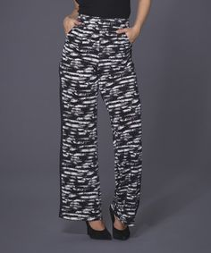 Another great find on #zulily! Black & White Stripe Palazzo Pants by Adore #zulilyfinds