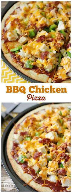 BBQ Chicken Pizza - a surprise hit with my family for dinner! Topped with barbeque sauce, chicken, bacon, peppers and cheese. This recipe is a meal in itself!