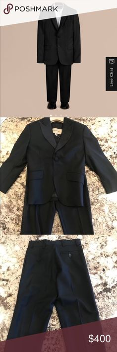Authentic Burberry London black boys tux suit sz 4 Authentic Burberry London tuxedo black boys dress suit sz 4 Excellent Condition wore once. Includes jacket and pants Burberry Matching Sets