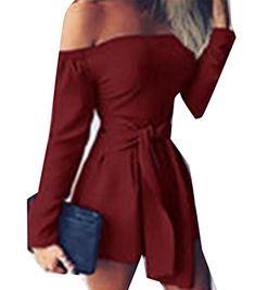Cromoncent Womens Classic Off Shoulder Pencil Pant Pocket Romper Jumpsuit Gray M