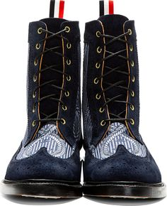 Thom Browne: Navy Longwing Mariner Ankle Boots