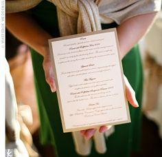 Real Weddings - Vineyard Wedding in Ronda, NC - Gold Menu Cards