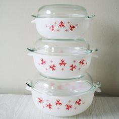 set of three 1960s Sputnik Phoenix casserole dishes
