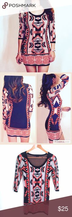 """Aztec tribal print sweater dress/tunic Cool Aztec print long sleeve sweater dress or tunic in orange, beige & black. In great condition, minimal pilling, no snags, holes or stains. Tag says S but runs more like an XS. Chest is 16"""" across, waist is 14"""", length is 31"""" shoulder to hem. 100% acrylic. Stretchy fabric. ❌trade, bundle for discount ✍make an offer❣ Dresses Mini"""