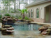 We love this Natural Lagoon Pool. Although I would not want it this close to my doorway, it would be great to have that tropical feel of a natural pool. Lagoon Pool, Mermaid Lagoon, Natural Swimming Pools, Natural Pools, Swimming Ponds, Small Pools, Beautiful Pools, Dream Pools, Swimming Pool Designs