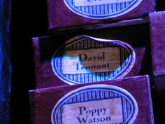 David Tennant's name on a wand box at the Harry Potter Studio Tour, London :  ) god this makes me so happy