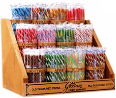 This Classic Candy Stick Display comes with 12 plastic jars, jar labels & a sturdy wood stand. Display rack measures 16' wide, 12' tall at the back and 11 1/2' deep. Candy sold separately.