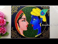 Radha Krishna Painting for beginners Glass Painting Designs, Art Painting Gallery, Mural Painting, Mural Art, Painting Wallpaper, Painting Abstract, Simple Canvas Paintings, Diy Canvas Art, Madhubani Art