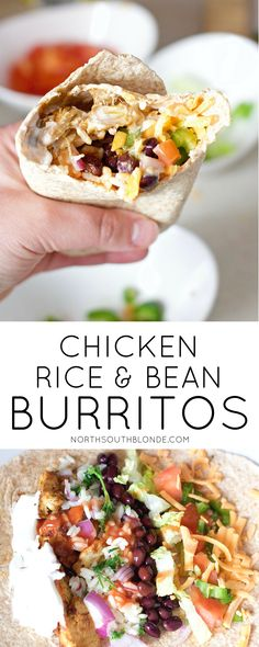 Make Mexican night fun and delicious with this easy burrito recipe. Light and le… Make Mexican night fun and delicious with this easy burrito recipe. Light and lean, involves gluten-free pita bread for the wraps and tons of protein and fibre. Chicken Rice Beans, Black Bean Chicken, Easy Burrito Recipe, Recipe For Burritos, Healthy Chicken Burrito Recipe, New Recipes, Cooking Recipes, Soup Recipes, Black Beans