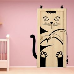 Wall sticker decal for doors with adorable cat - check out other available patterns