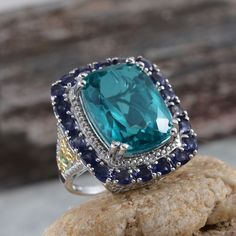 Capri Blue Quartz, Catalina Iolite, and Diamond 14K Yellow Gold and Platinum Over Sterling Silver Ring