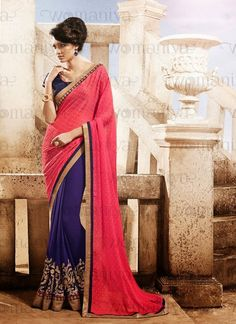 Fancy Deep Pink & Navy Blue Embroidered half and half saree