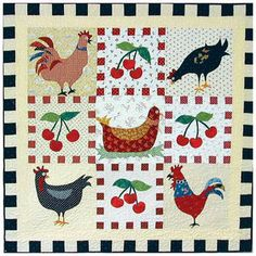 CHICKENS, CHERRIES, & CHECKS QUILT PATTERN