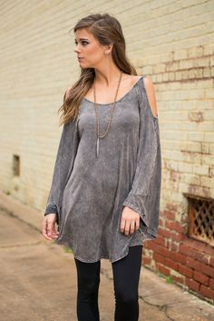 Stick By My Side Top, Charcoal