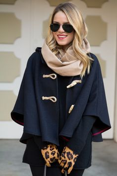The best winter accessories: soft waves, a fun cape, a cozy scarf and bold gloves.