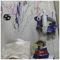 July 七夕飾り、タヌキは「ゆかた」のつもりです。 Oriental festival、tanabata. A lover that can meet only once a year. #七夕 #7月 #July #tanabata #ゆかた #浴衣  #和服 #着物 #kimono #たぬき #コスプレ #手作り #玄関インテリア #着せ替え人形#人形#七夕製作#うちわ#笹の葉