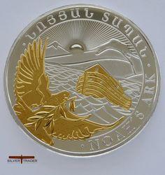2014 Noahs Ark Armenian 1 ounce gold gilded silver bullion coin