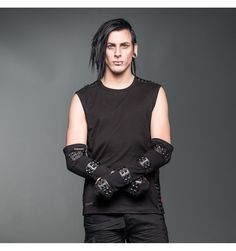 For the goth and metal male, these stretchy arm-length gloves by Queen of Darkness are detailed with leather-look straps. Bad-ass!