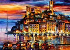 Leonid Afremov Cannes,france oil painting reproductions for sale