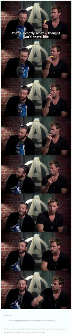 "And Hemsworth's just like  "" What'd i do wrong? Oh, it's yummy. Gimme one more."""