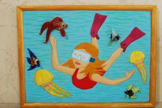 """NEW! Painting """"Diver"""". Wall Art, Acrylic Painting On Wood, Original Painting with a glass, Wall Decor, Glass Art, Artwork by Alex Pelesh. by PeleshArtStudio on Etsy"""
