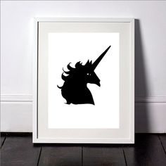 Black Unicorn Print Black Unicorn Wall Art Unicorn by SvetaNPrints