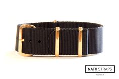 Black NATO strap with Rose gold hardware | Rose Gold Metal NATO | Watch Straps Australia
